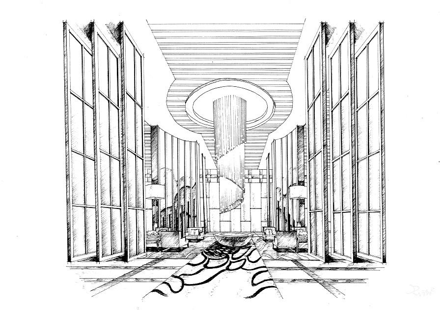 酒店大堂|室内设计|空间/建筑|mhc绘