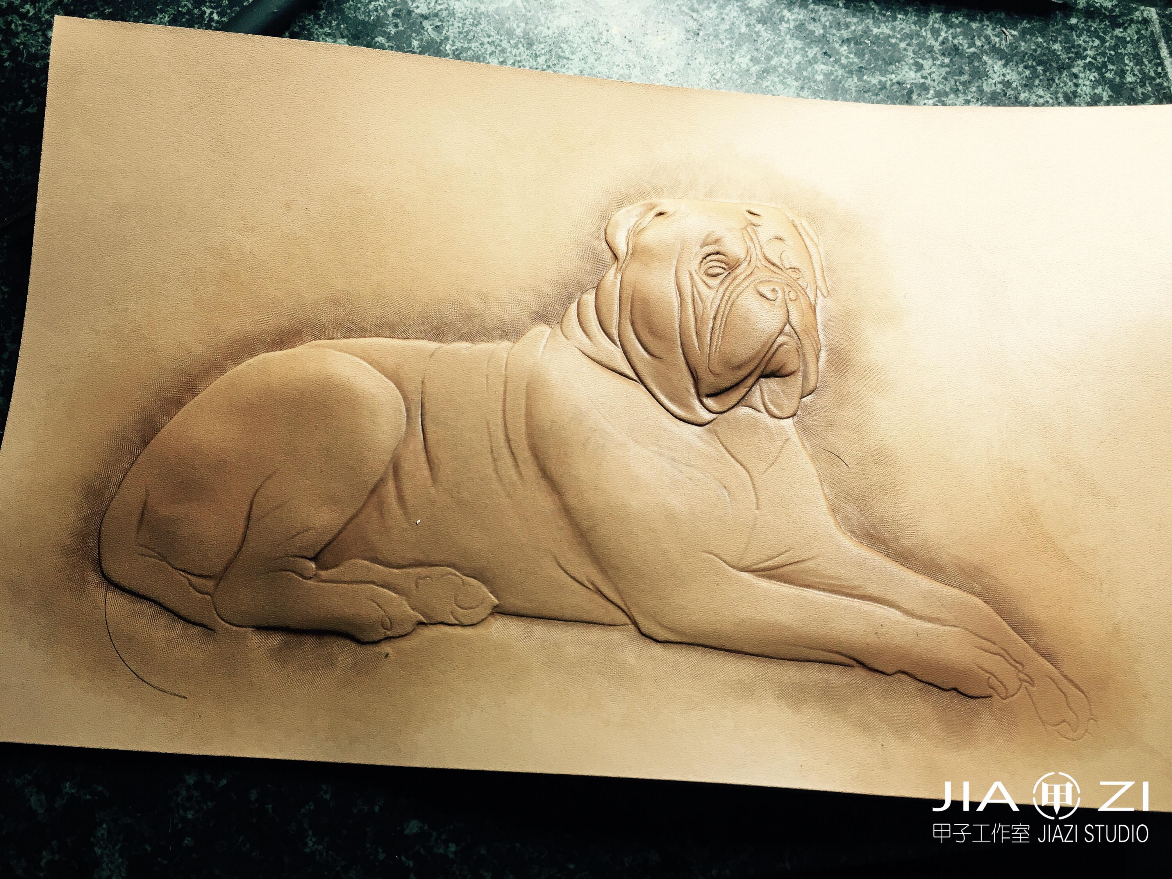 甲子工作室 动物皮雕皮塑染色习作