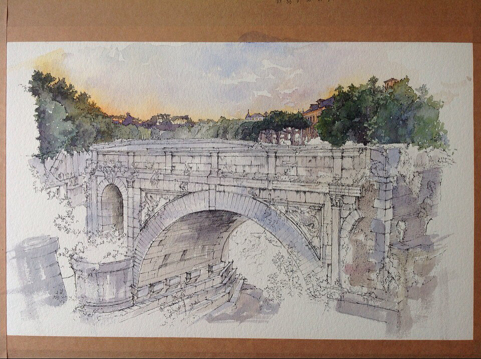 建筑水彩手绘—桥(过程)