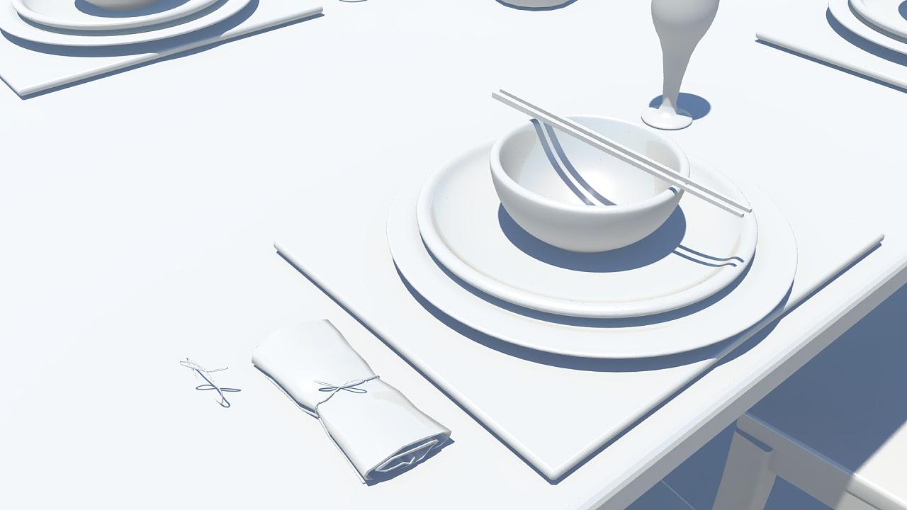 快题设计手绘图马克笔餐桌