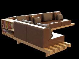 北欧实木沙发