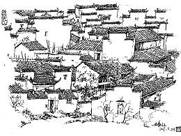 钢笔风景速写——村寨