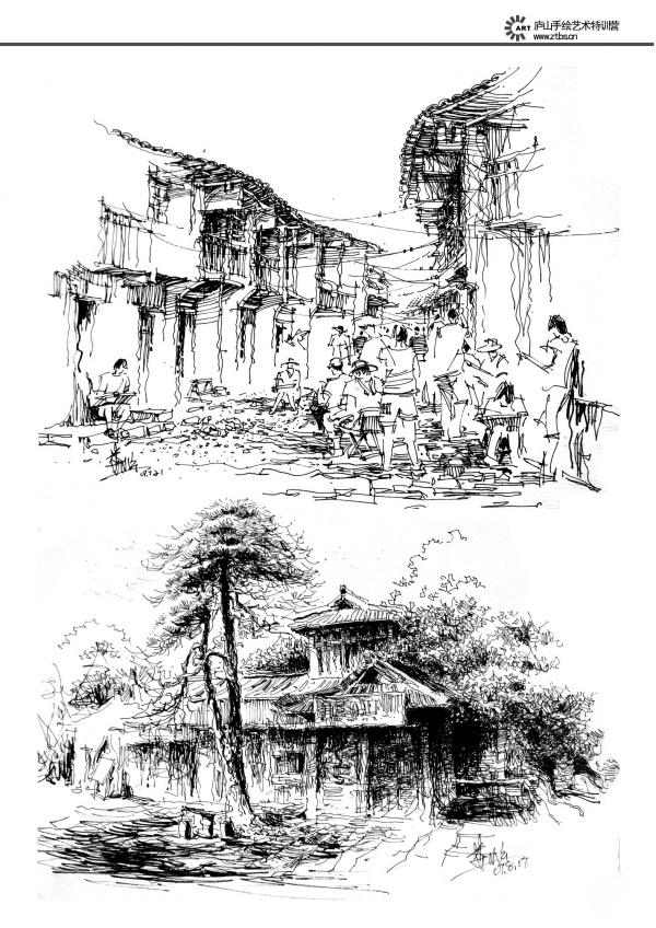 线描手绘|园林景观/规划|空间/建筑|艺鸣design
