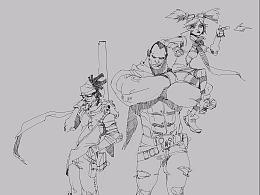 为游戏《无主之地3》(Borderlands)设计的前期线稿