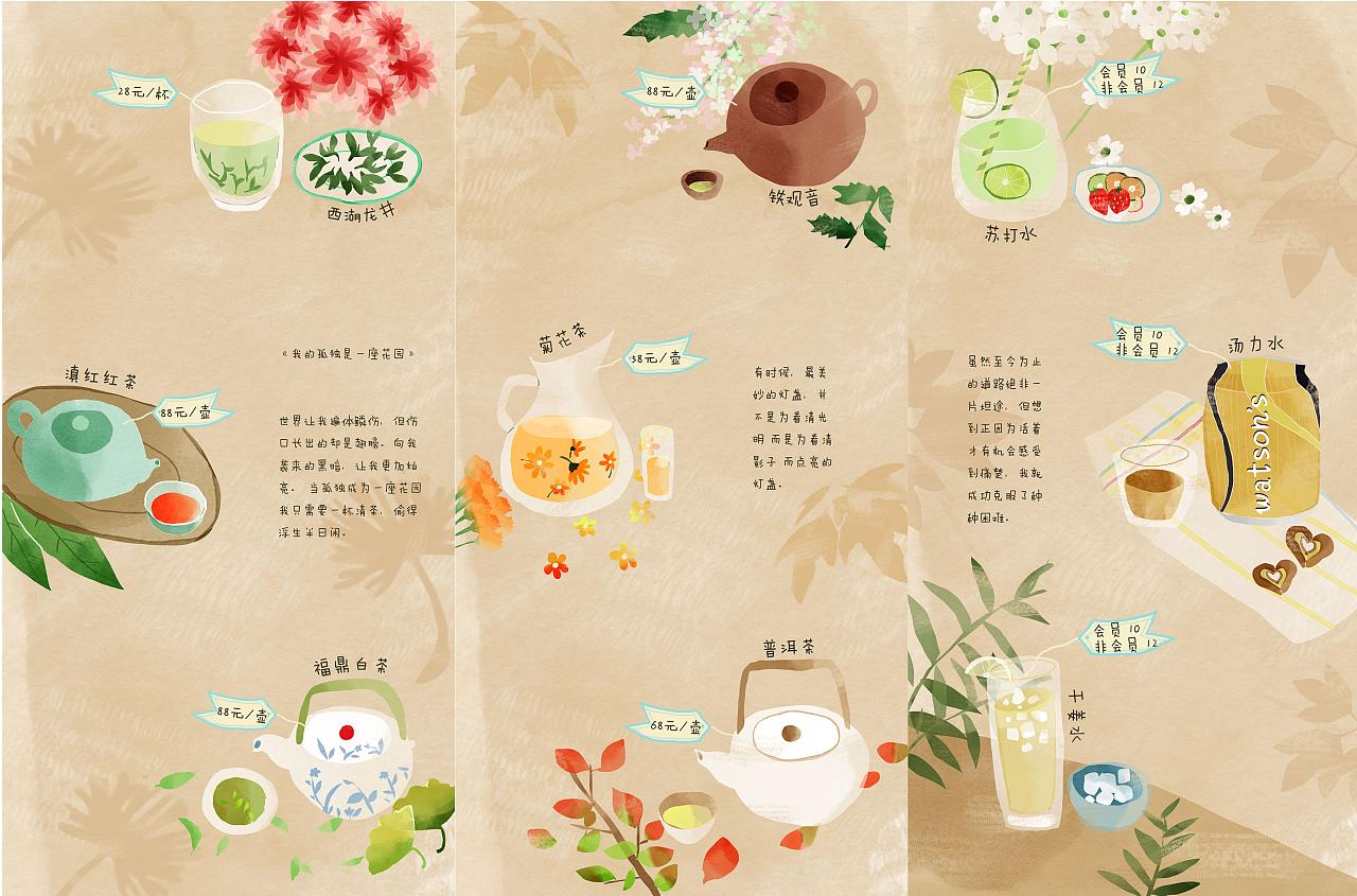 咖啡厅手绘菜单 水彩风格