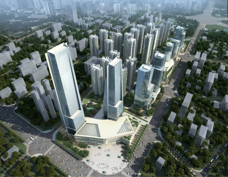 俯视高楼建筑