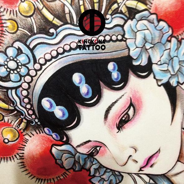 原创手绘中国风脸谱花旦纹身手稿|其他手工|手工艺