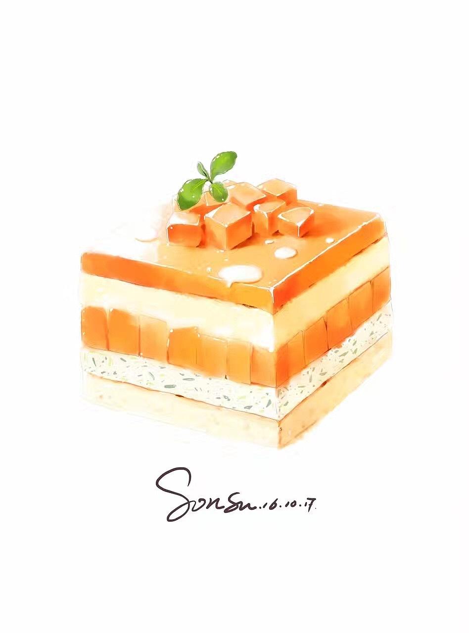 芒果蛋糕手绘