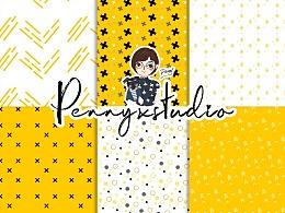 黄色十字交叉、小圆点、小星星符号等图案叠加.pat