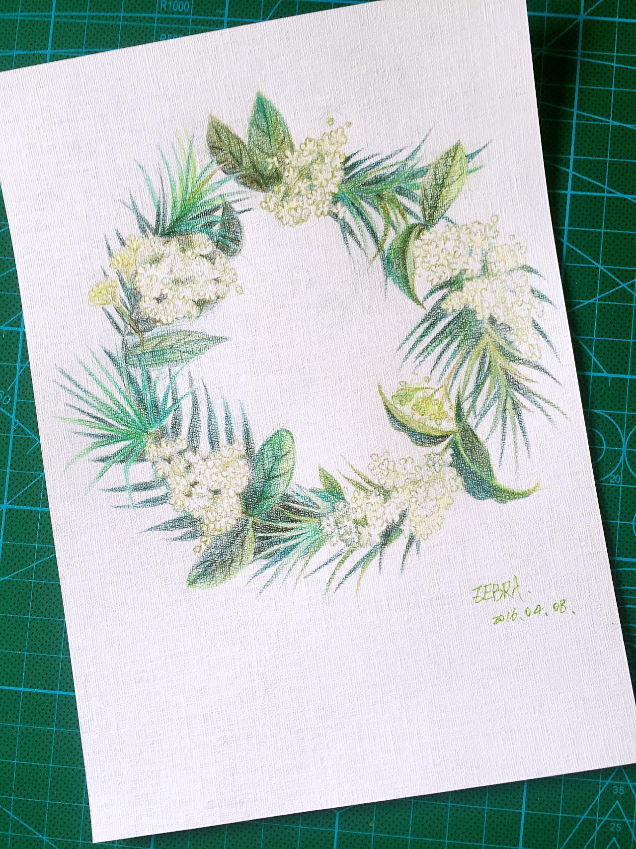 日绘 手绘 彩铅 花环 小清新