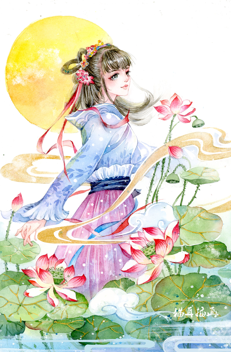 一组水彩古风美女|插画习作|插画|猫耳菲菲