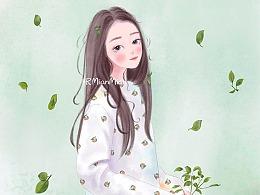 【立春】二十四节气立春时尚插画人物手绘少女插画