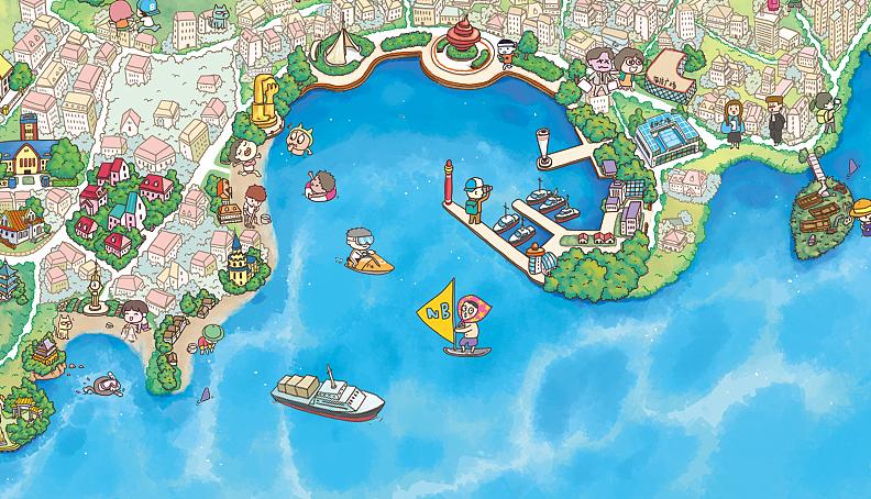 原创作品:q版手绘地图-青岛