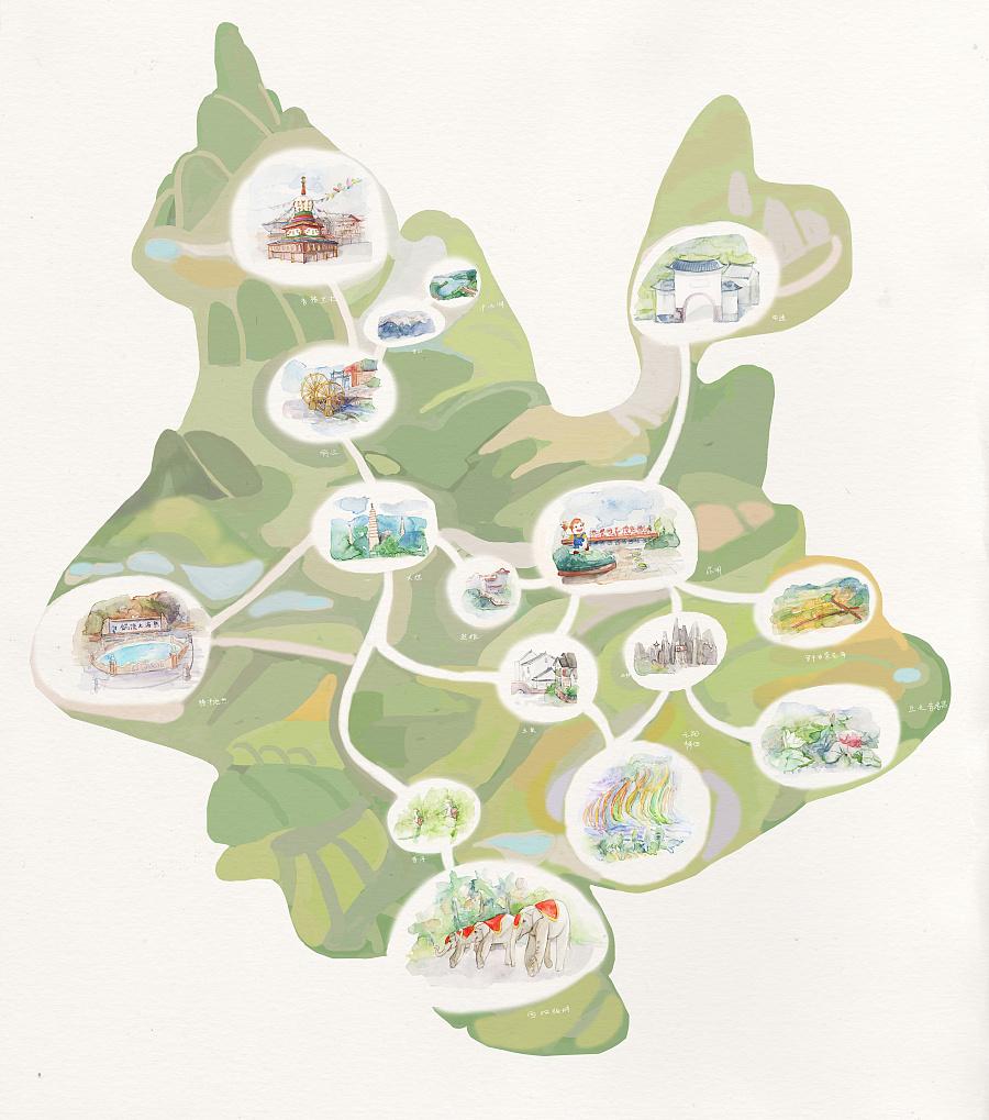 原创水彩手绘地图|商业插画|插画|刘丹amanda