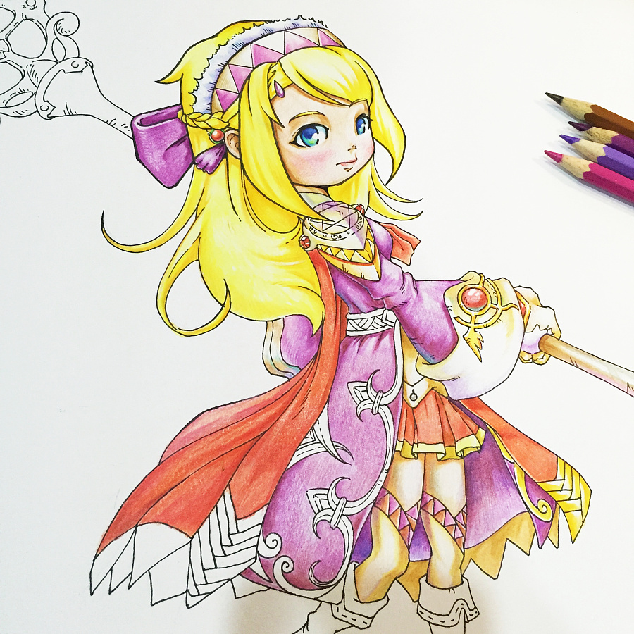 动漫人物角色 [ 女性人物彩铅绘画