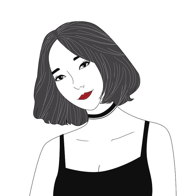 潮范小姐姐,黑白手绘,卡酷原宿风