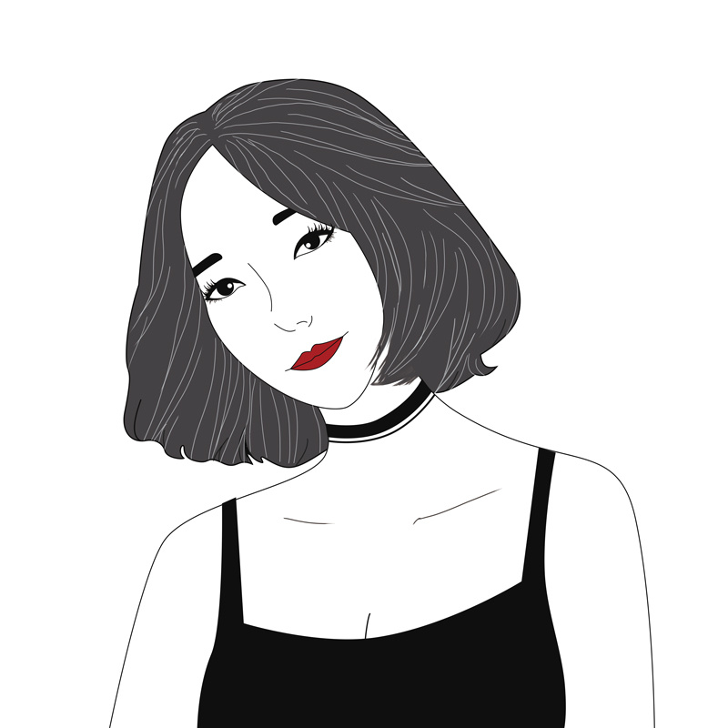 卡酷黑白手绘,个性潮姐