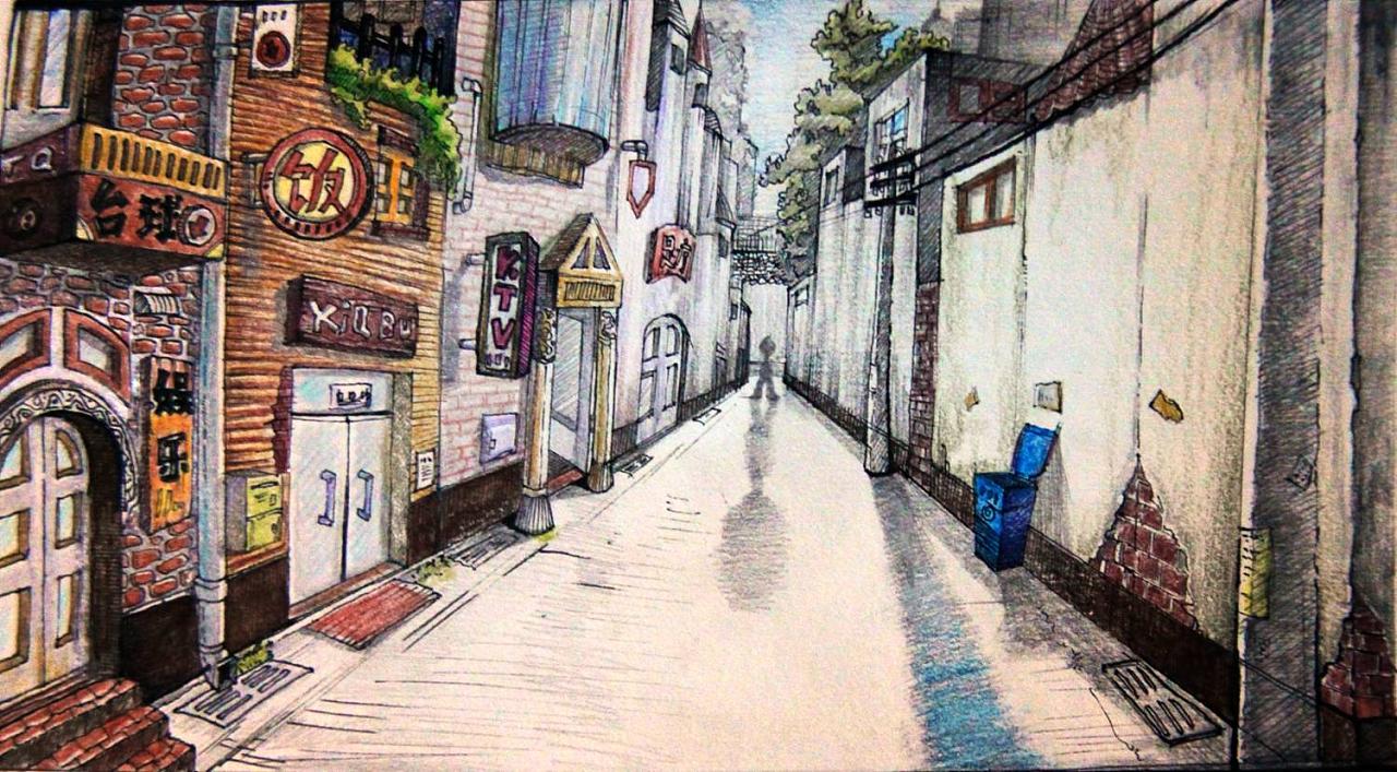 城市手绘插画小巷