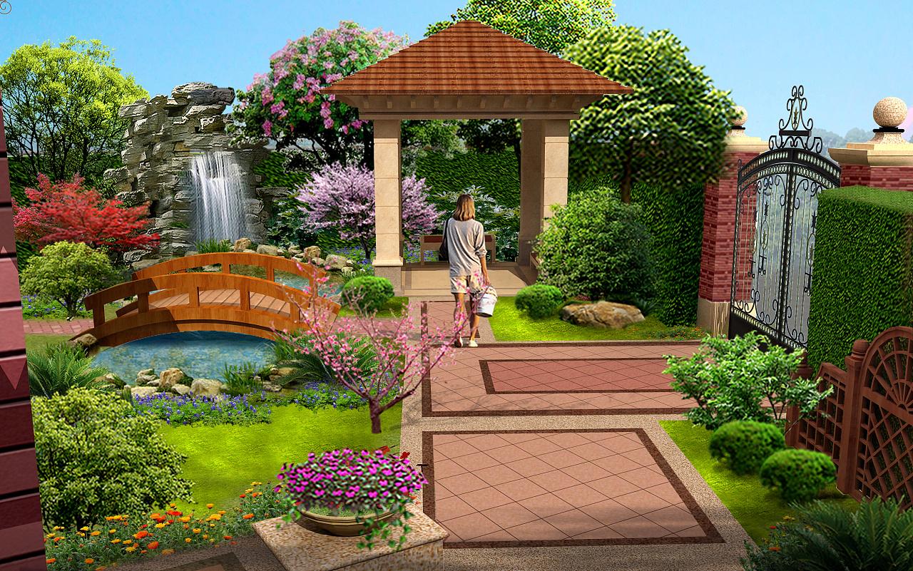 项目折线景观设计边框svg绘制别墅效果的庭院图片