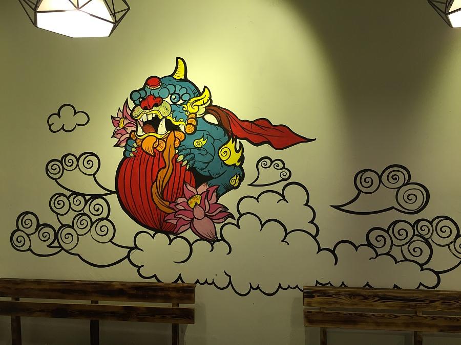 〔豹小玉手绘〕烧烤店手绘墙/手绘油桶