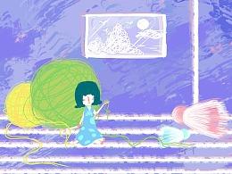 好奇女孩居家-毛线插画