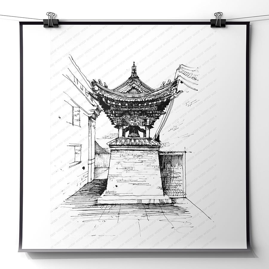 大学の建筑钢笔画