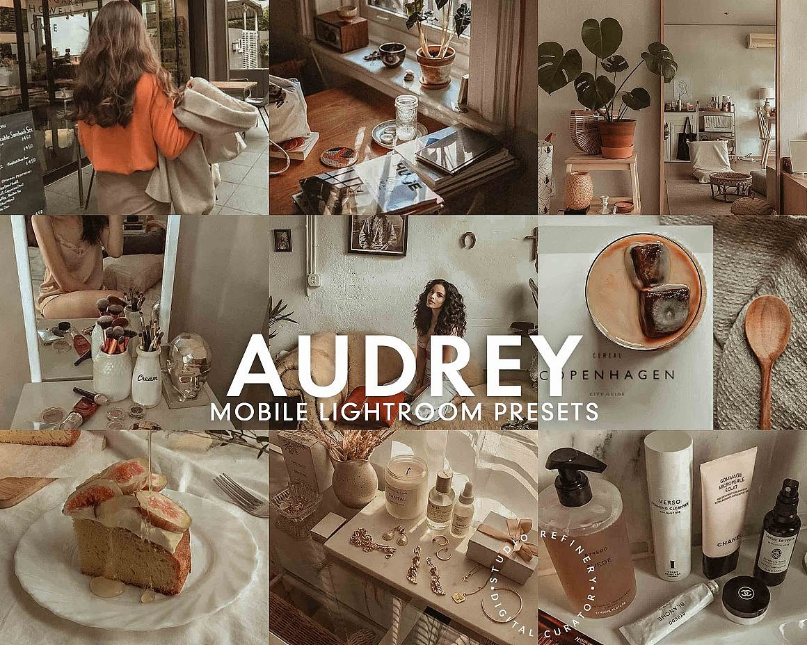 【P346】莫兰迪灰色调LR预设/APP调色滤镜 5 AUDREY Mobile Lightroom Presets
