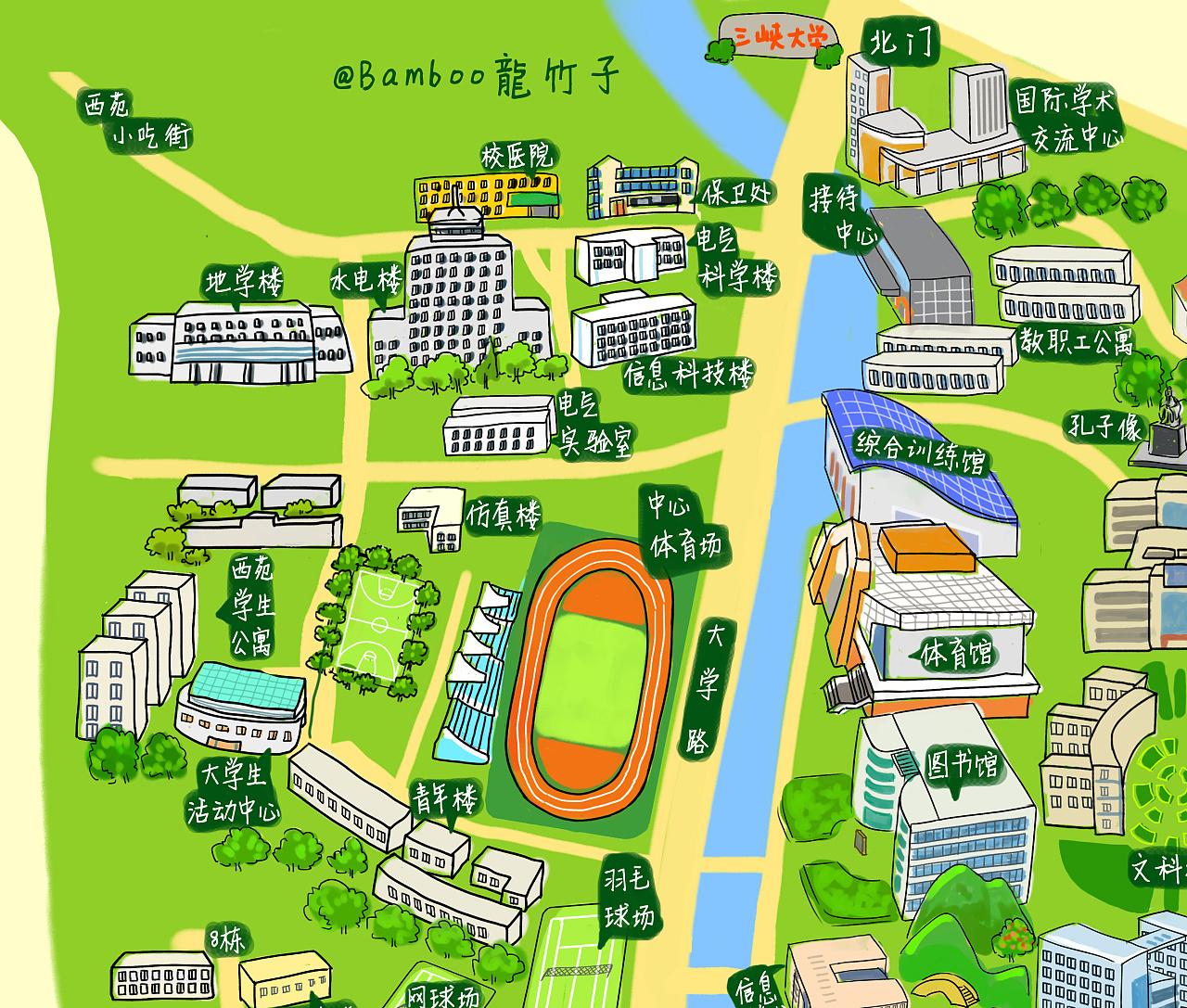 [三峡大学手绘地图]