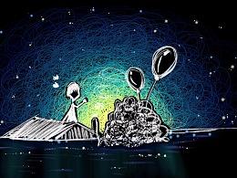 手绘线圈夜晚望着星空晚安-八月你好