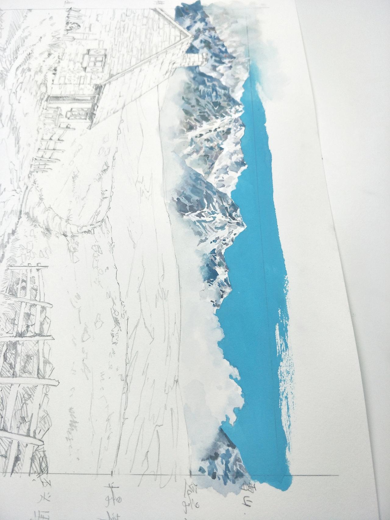 水彩风景临摹图片