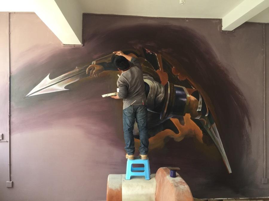 昆明手绘墙画墙体彩绘控制设计培训3D彩绘网机械手制作毕业设计图片