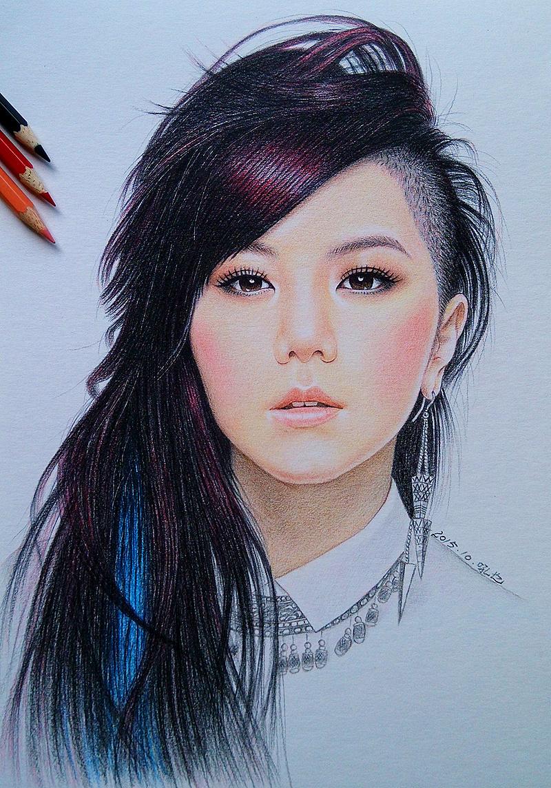 彩色铅笔画 邓紫棋 吼也手绘