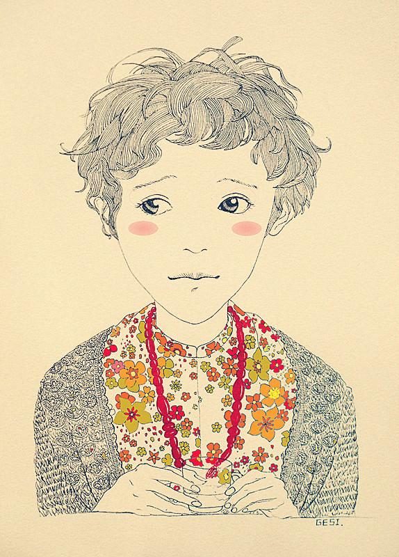 手绘黑白线条[穿毛衣的女孩儿]|绘画习作|插画|大思