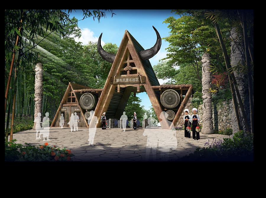 景区大门设计手绘|园林景观/规划|空间/建筑|猫猫与