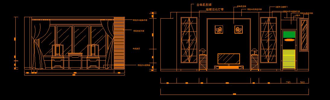 cad 室内设计(室内平面图,客厅,书房立面图)图片