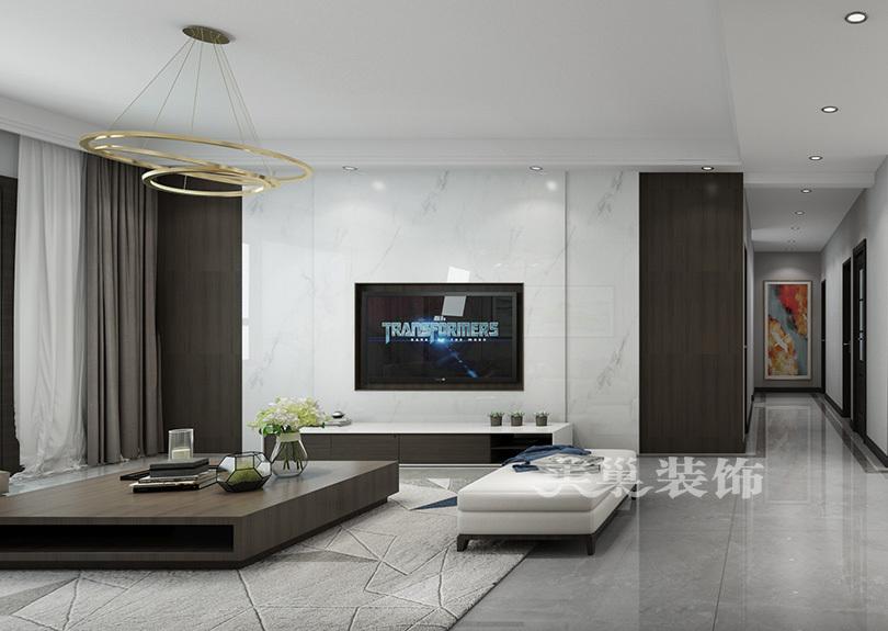 美巢郑州未来华庭220平四室装修现代黑白灰风格效果图