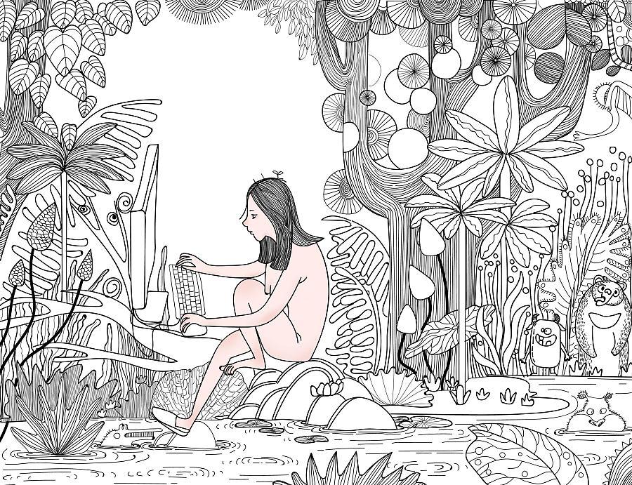 森林卡通简笔画