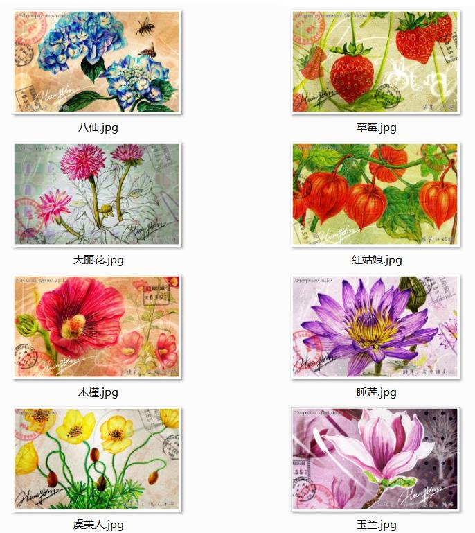 自制彩铅手绘复古明信片|商业插画|插画|火儿