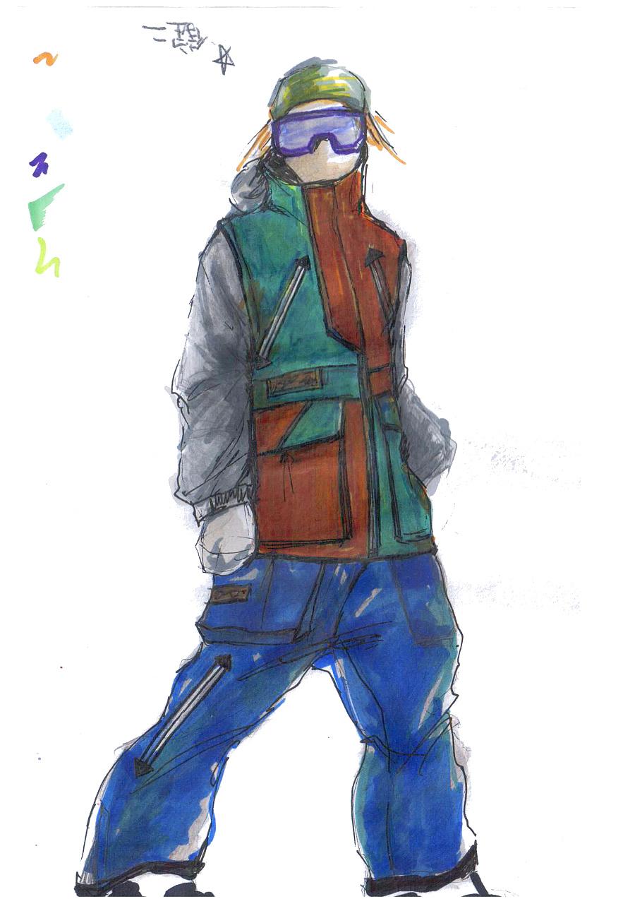 滑雪服手绘
