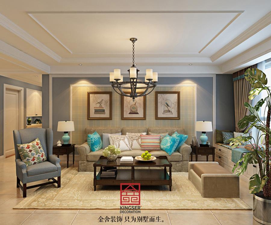 简美风格-三室两厅-石家庄金舍装饰|室内设计|空平房装修设计图片图片