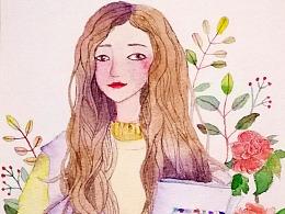 新颜料和新纸的试用,临摹水彩女孩