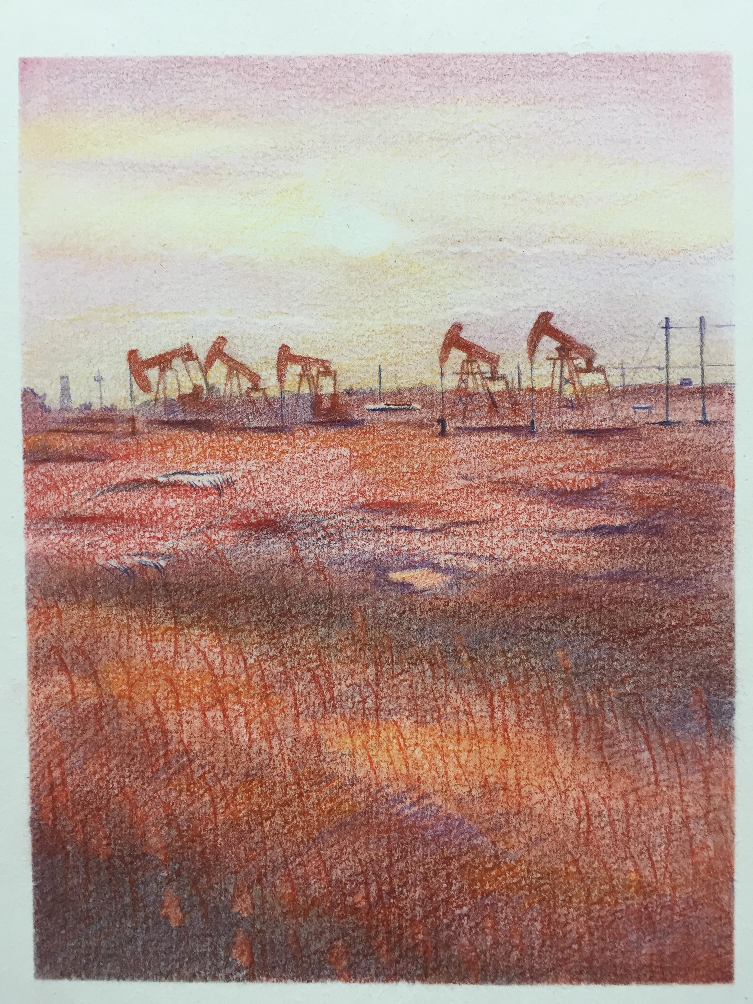 水溶彩铅油田风景两张.带步骤