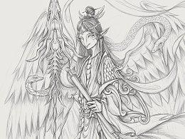中国神祗——海神禺强的插画创作练习