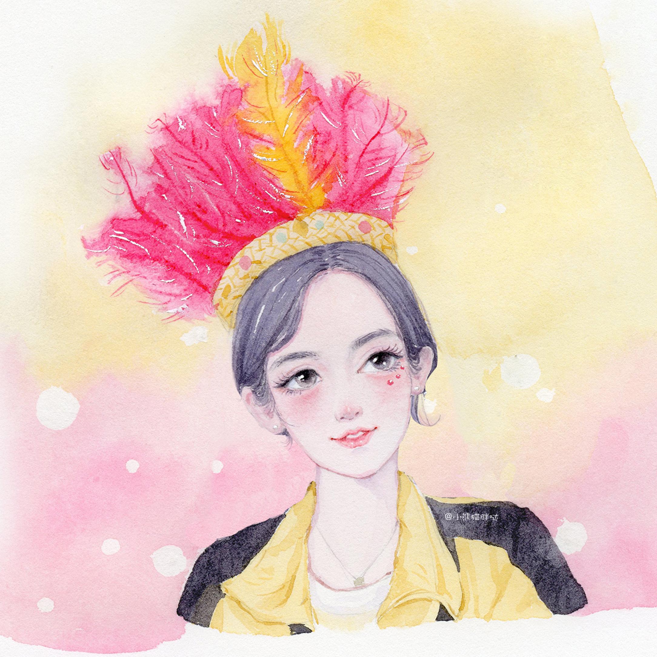 【小熊猫】花儿与少年水彩插画手绘人物水彩插画教程人物卡通头像手绘