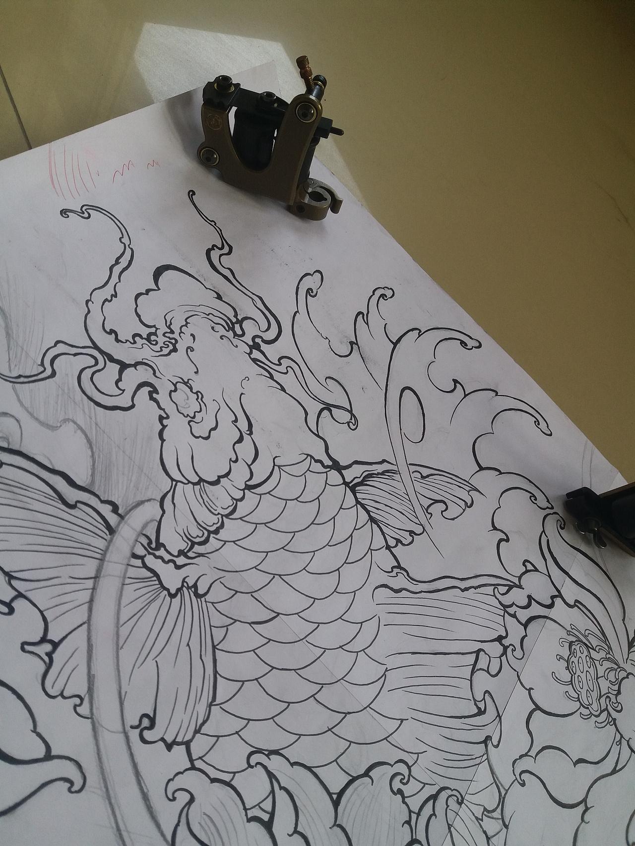鲤鱼纹身手稿