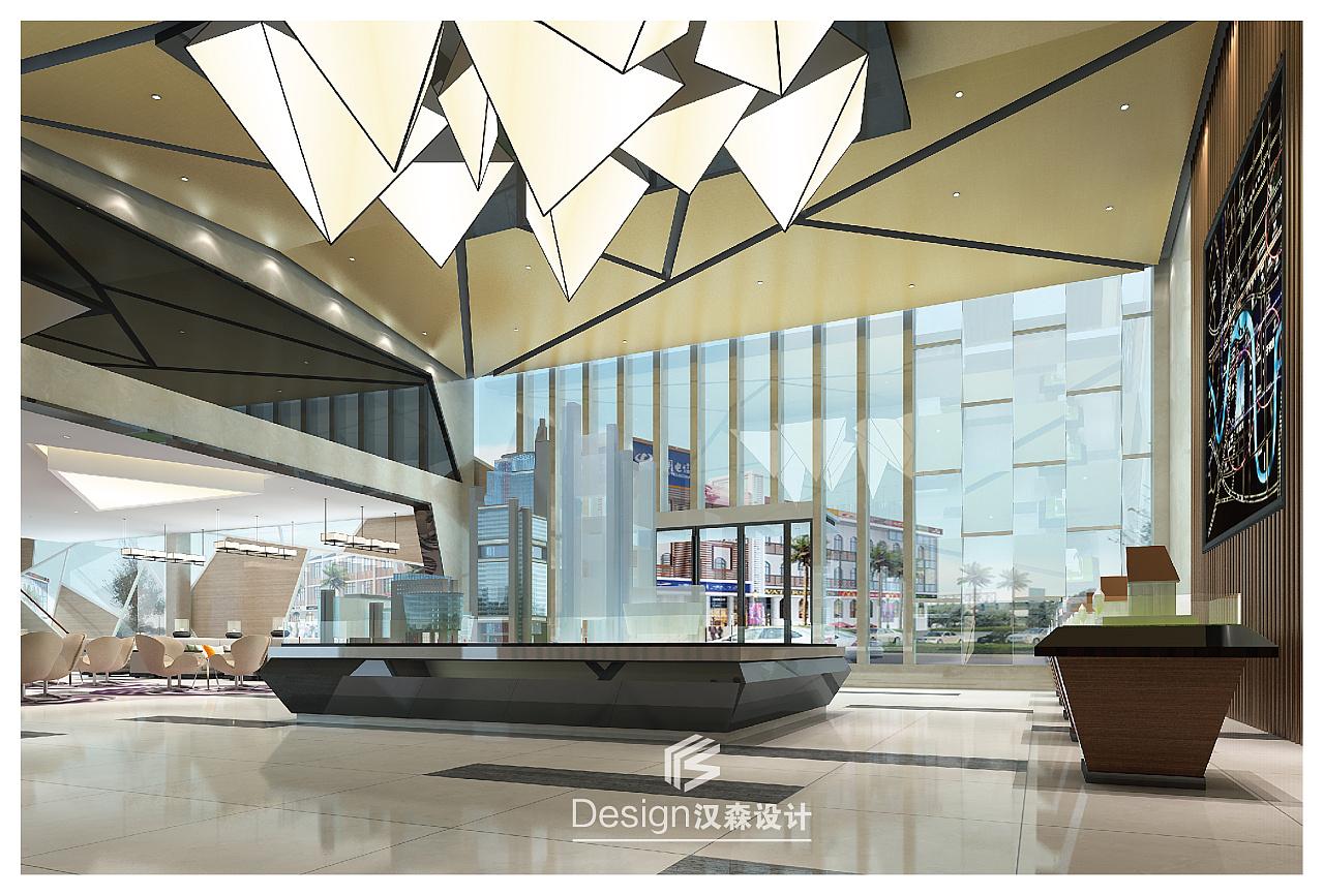 外观钢结构玻璃落地窗构成的售楼部,室内外之间由透明玻璃幕墙相隔,既