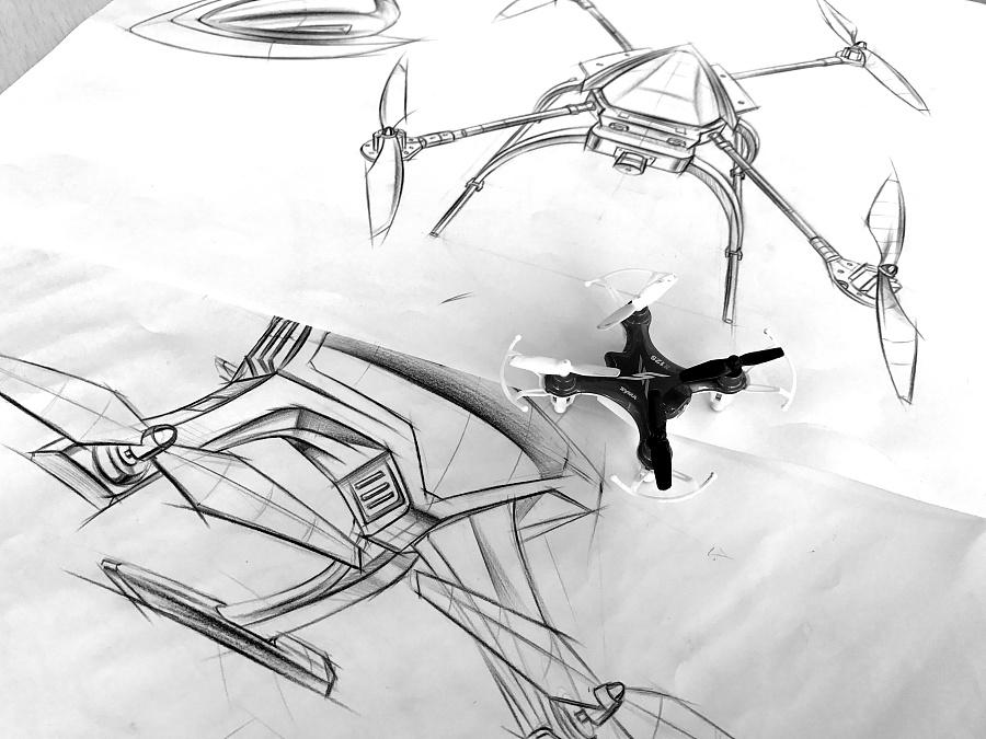 无人机案例设计手绘