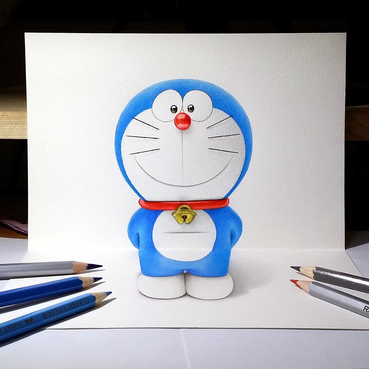 彩铅3d插画—哆啦a梦