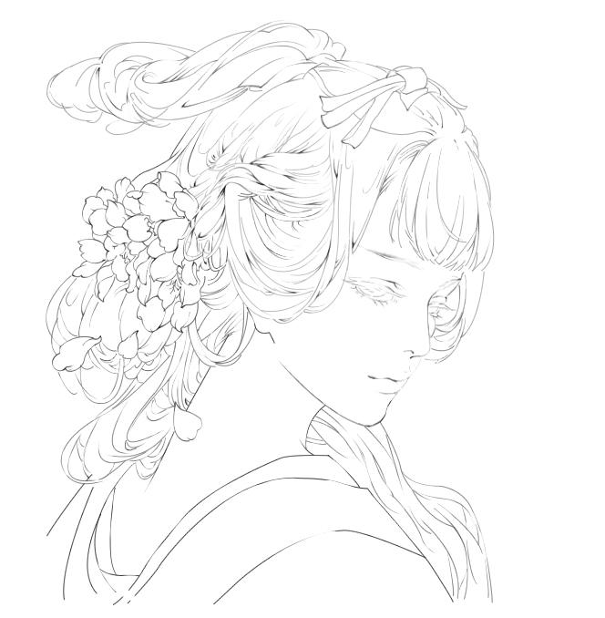 古风女子线稿练习|绘画习作|插画|澜星