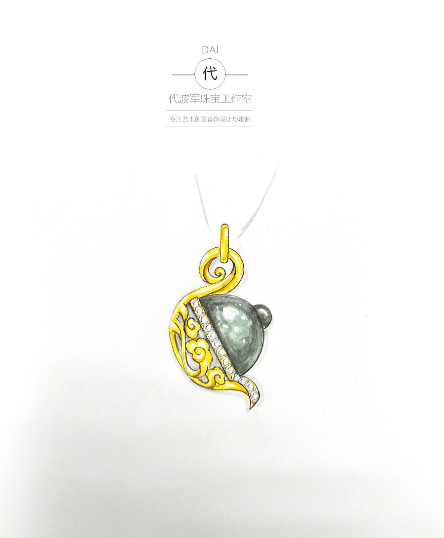 巴洛克珍珠作品壶——设计师手绘设计图